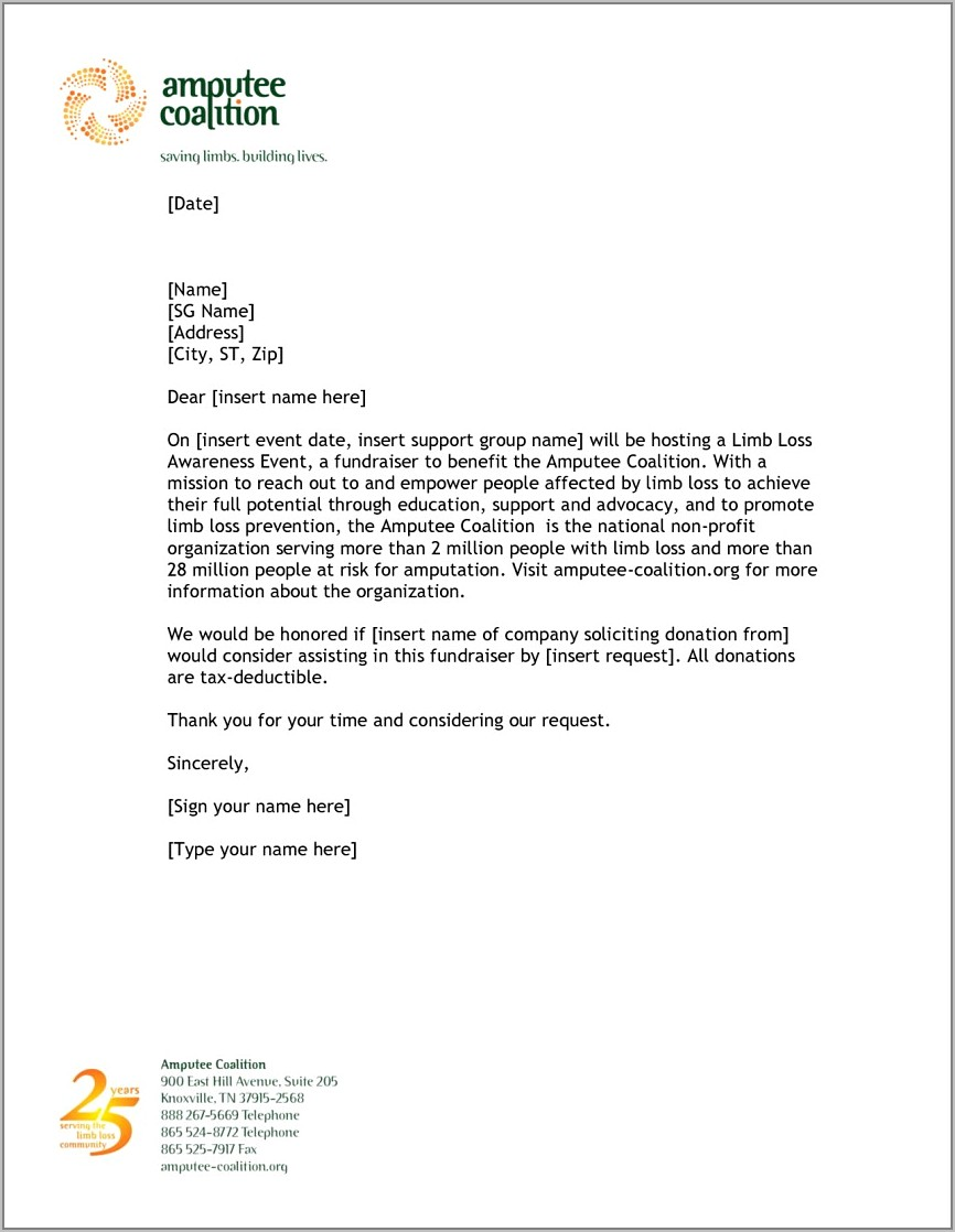 Letter Example For Donation Request