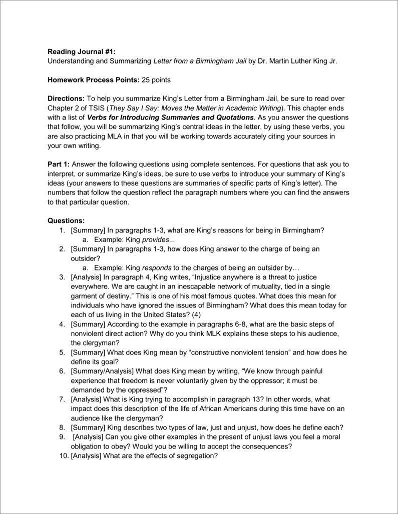 Letter From Birmingham Jail Questions For Discussion