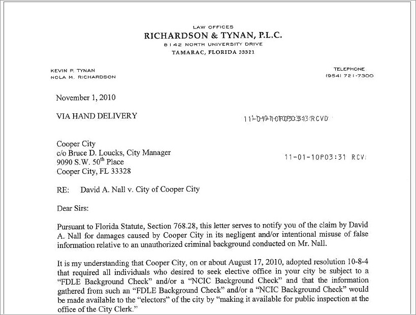 Letter Of Intent To Sue Sample