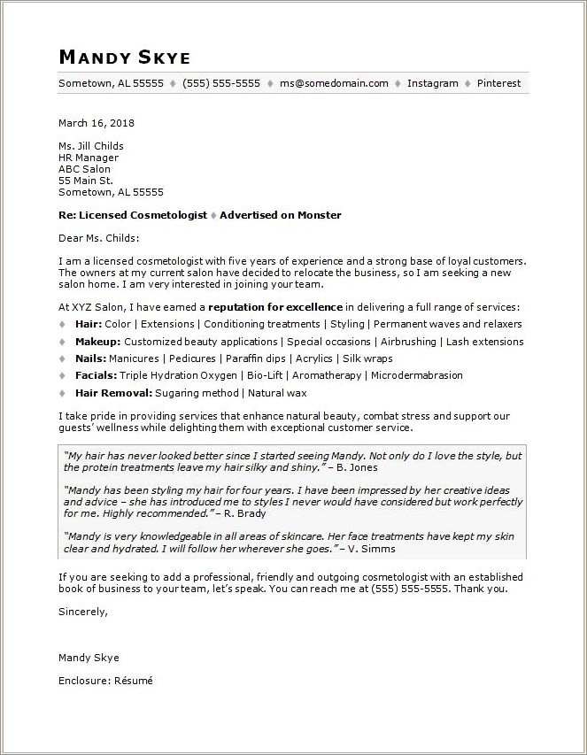 Letter Of Recommendation For Cosmetologist