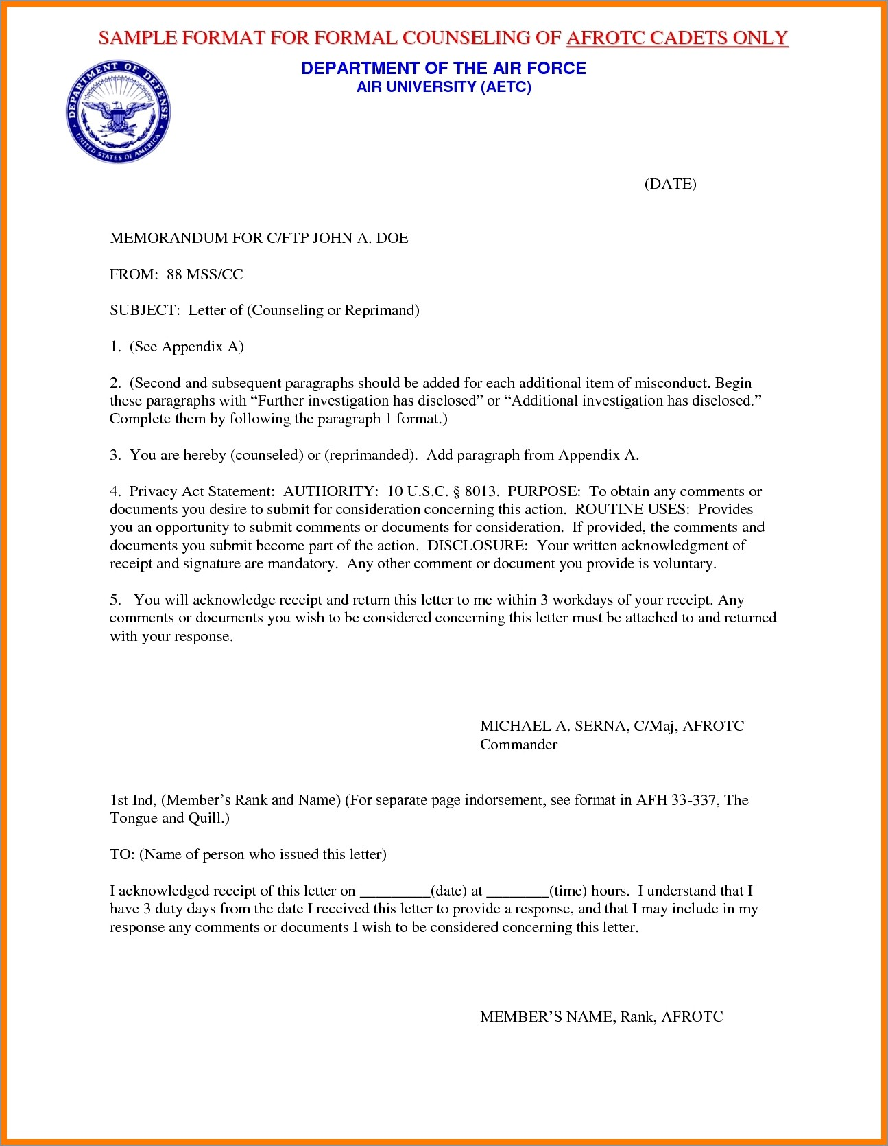 Letter Of Reprimand Air Force