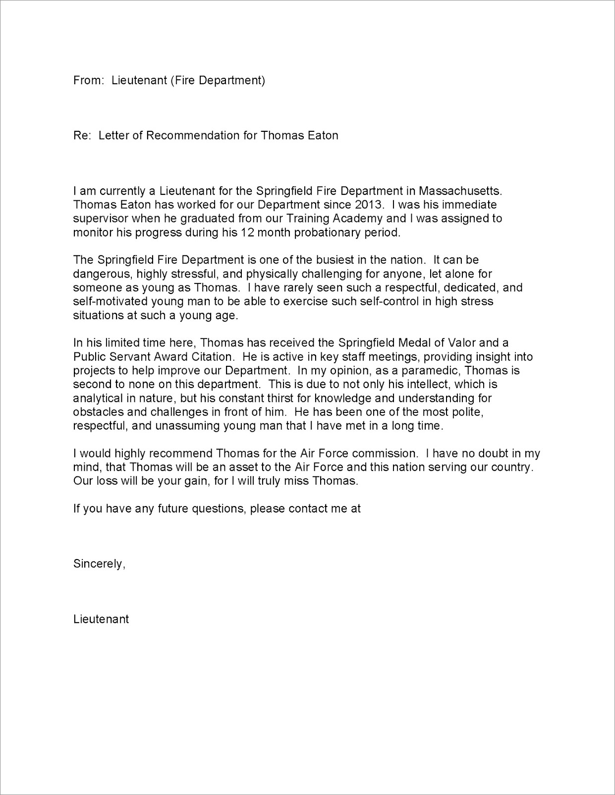 Letter Of Reprimand Template Air Force