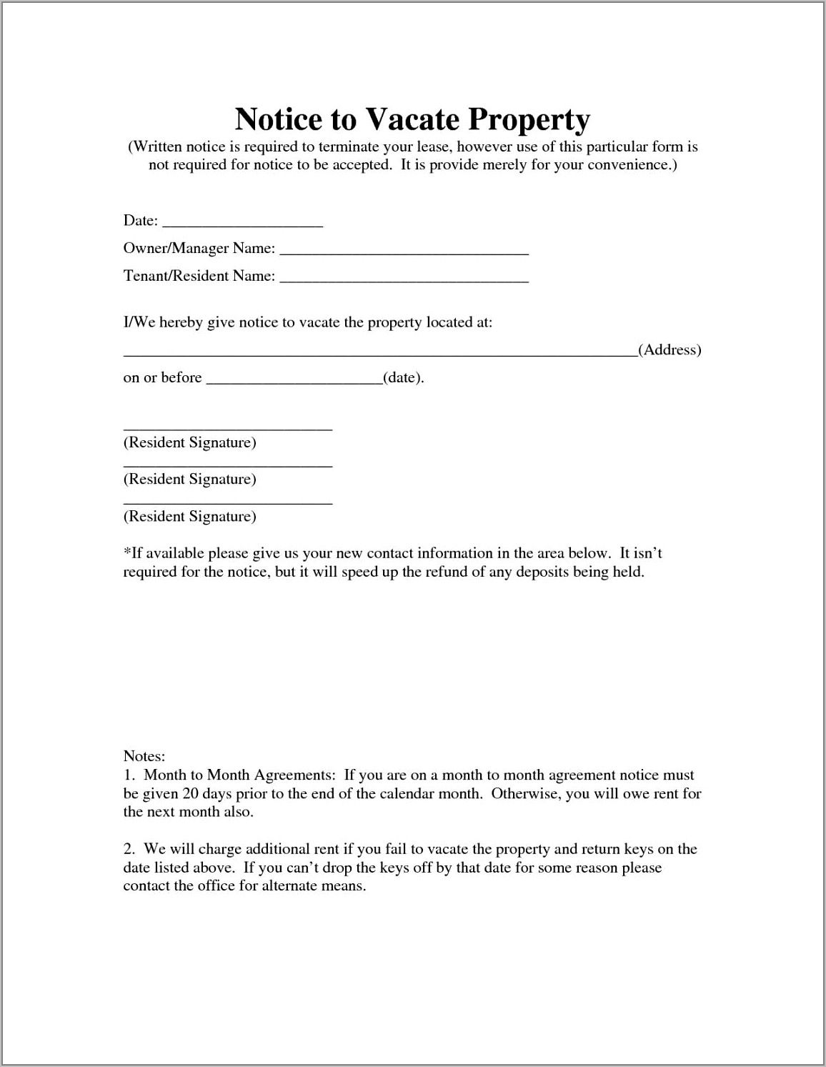 Letter Template For Notice To Vacate