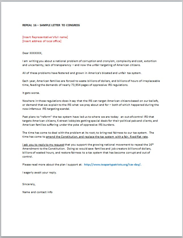 Letter To Congressman Template