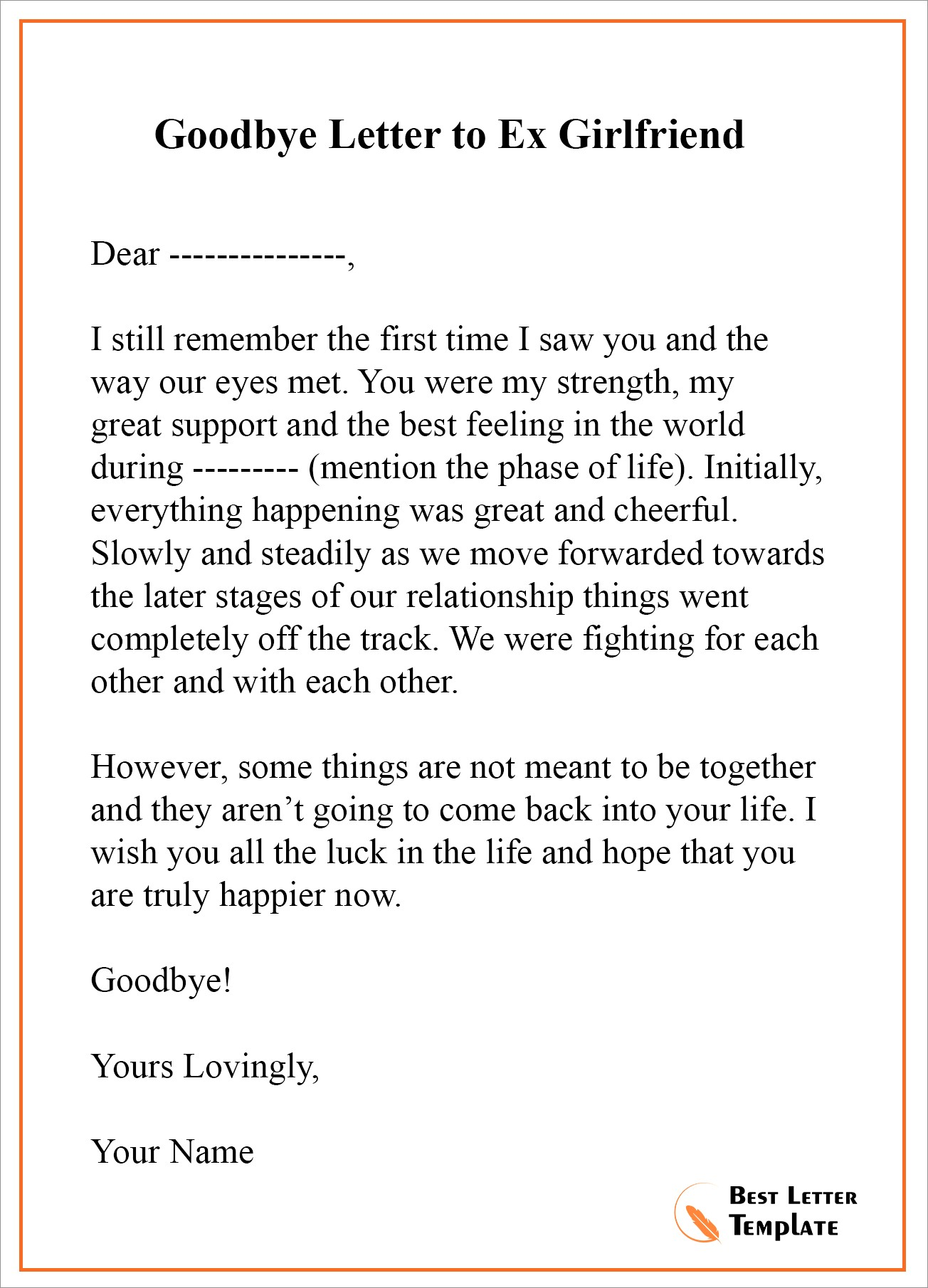 Letter To Ex Girlfriend
