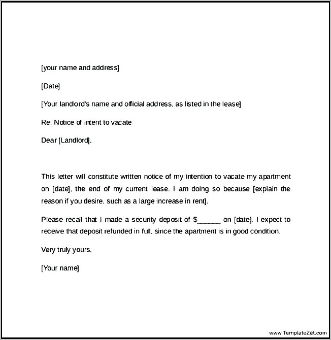 Letter To Tenant To Vacate Premises