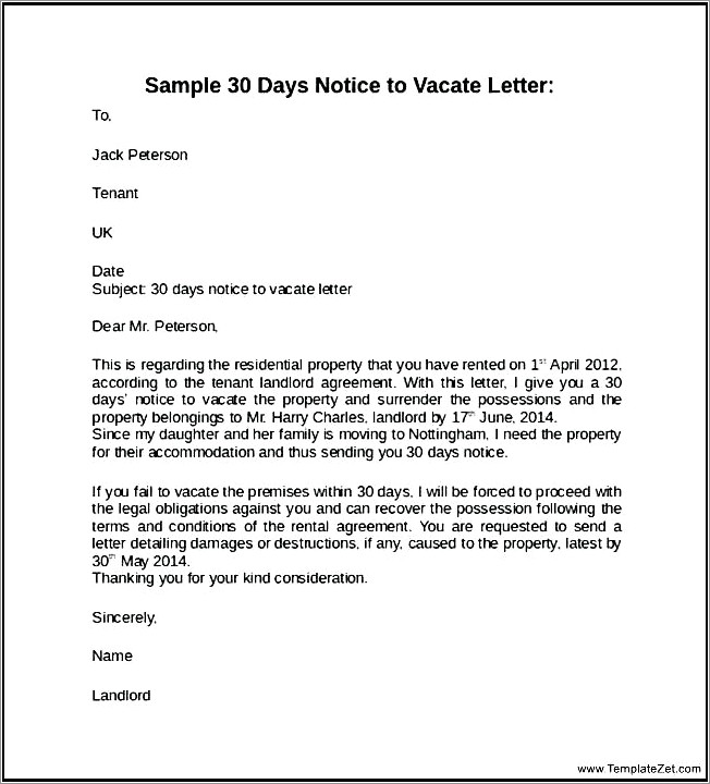 Letter To Tenant To Vacate Property