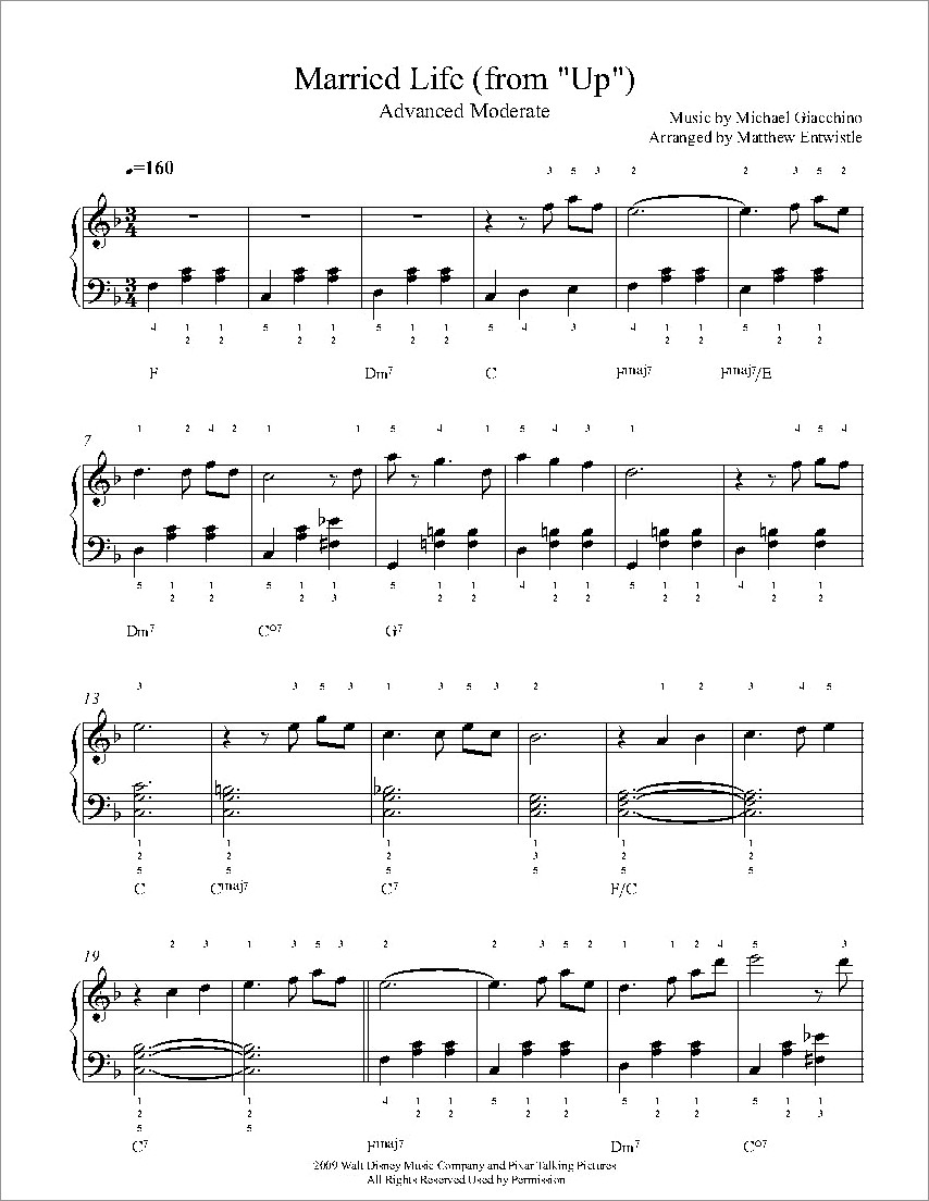 Married Life Piano Notes Letters