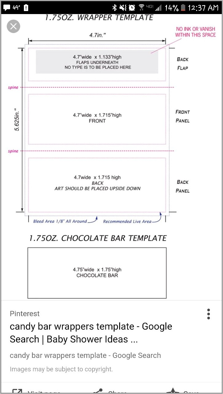 Miniature Candy Bar Wrapper Template Word