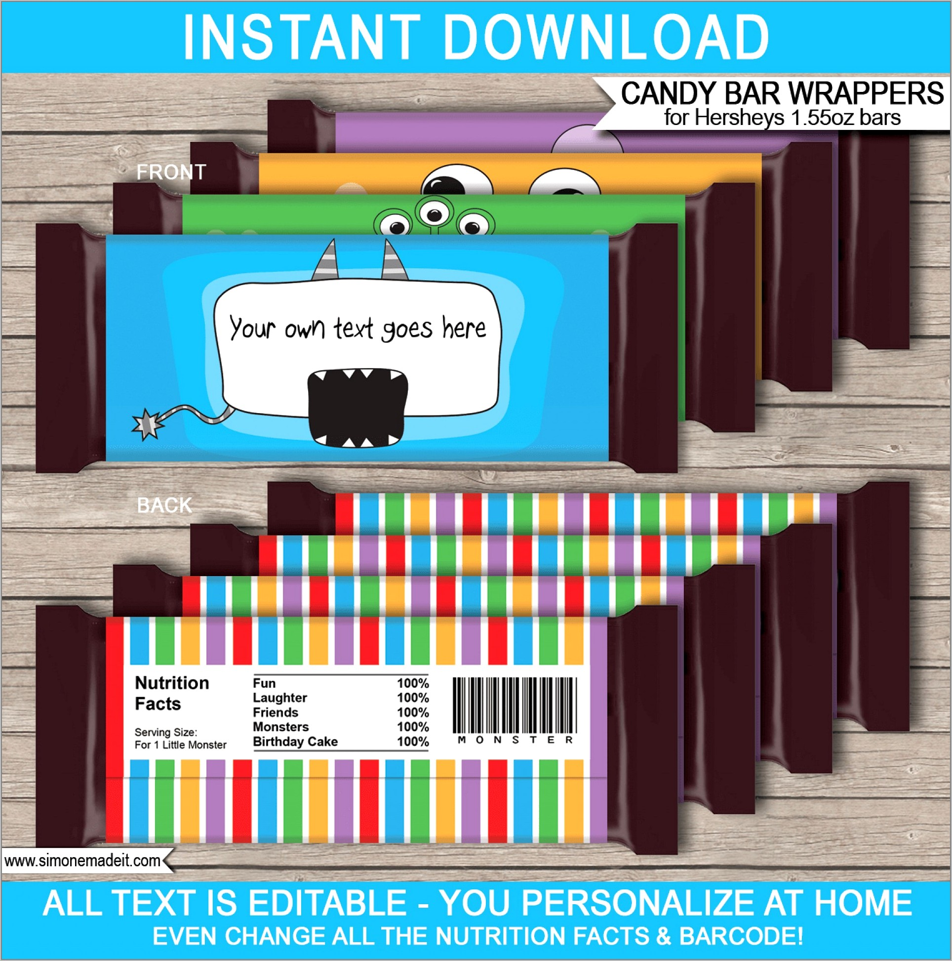 Miniature Candy Bar Wrappers Template Free