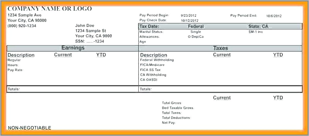 Monthly Salary Pay Stub Template