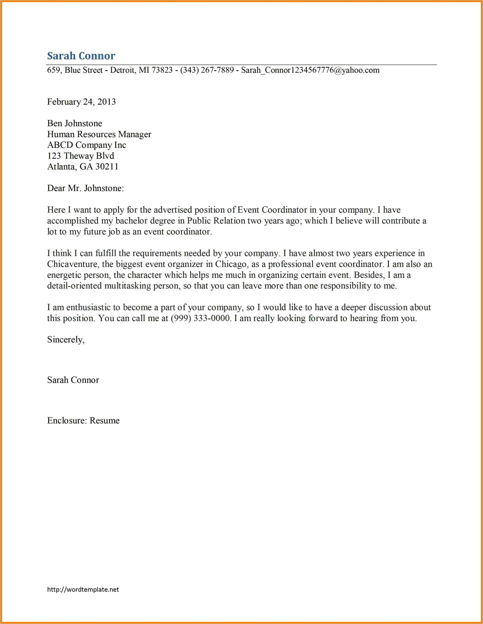 Ms Word Business Letter Template