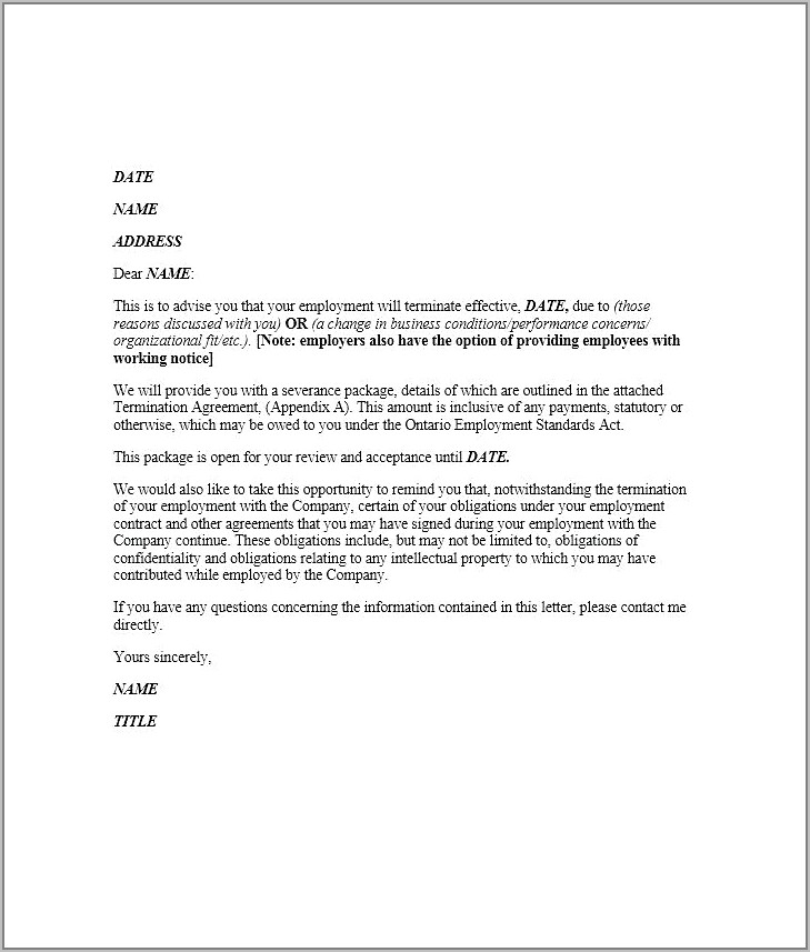 Mutual Termination Of Employment Contract Letter Template