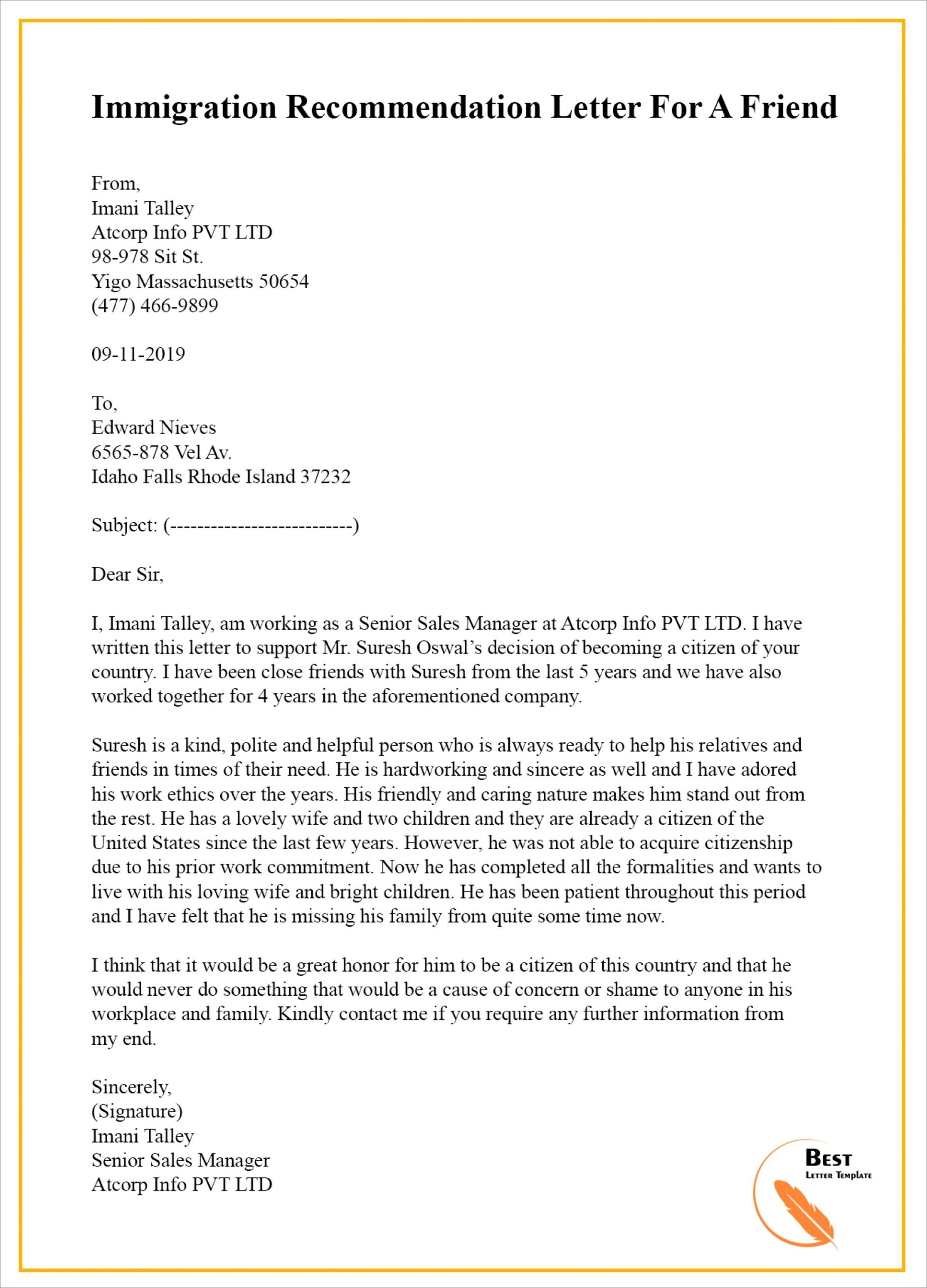 Nanny Recommendation Letter Template