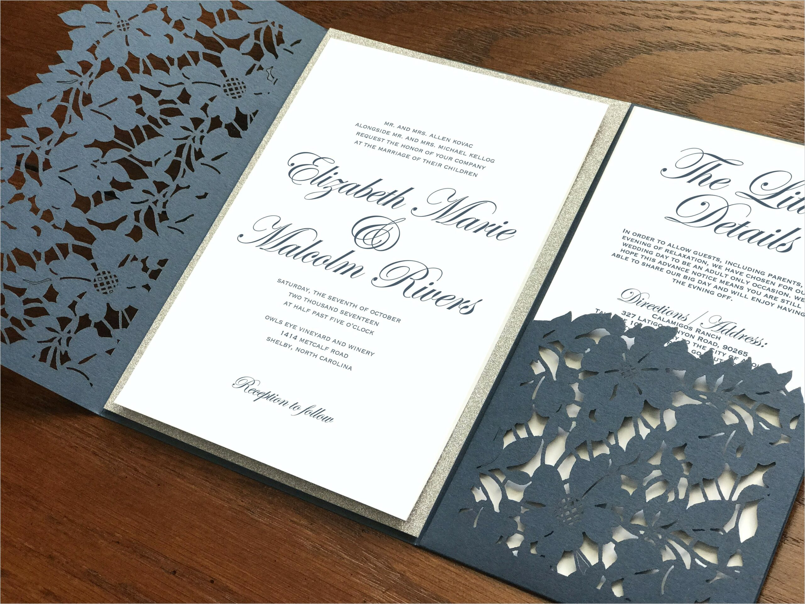 Navy Blue And Silver Invitations