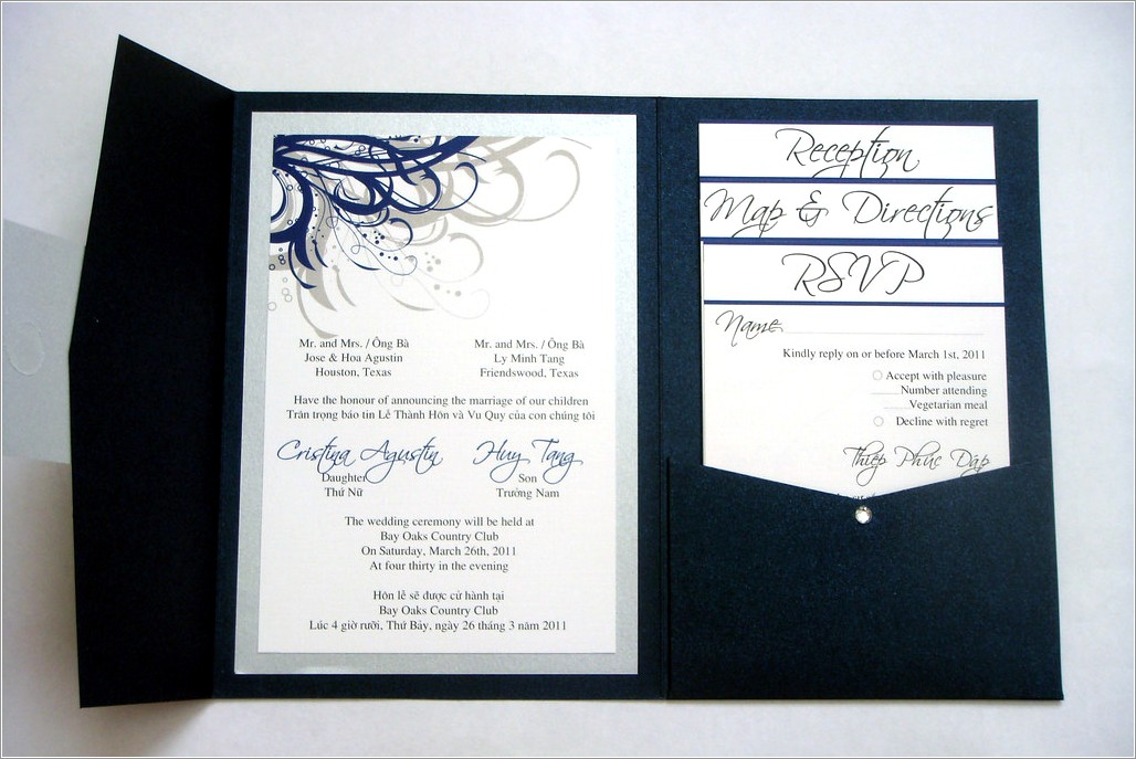 Navy Blue And Silver Wedding Invitations
