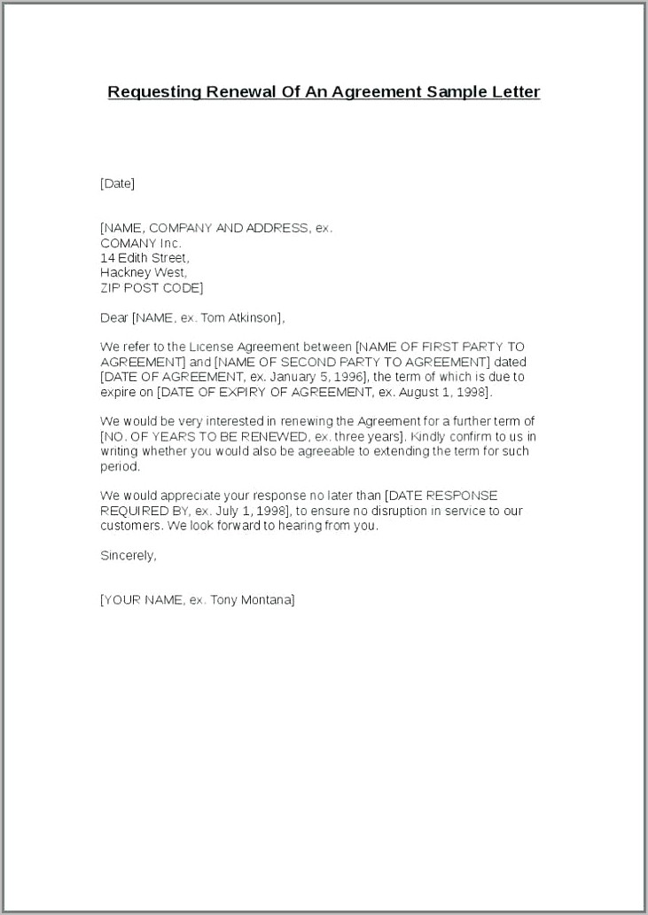 Non Renewal Of Tenancy Contract Letter Sample