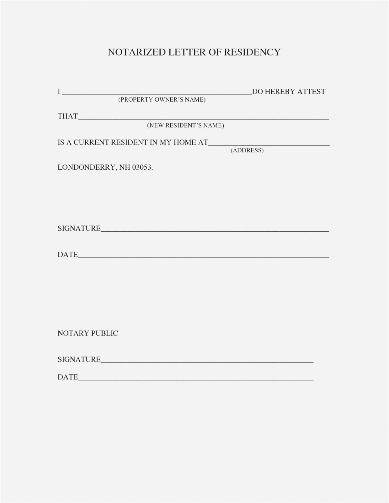Notarized Letter Of Residency Form