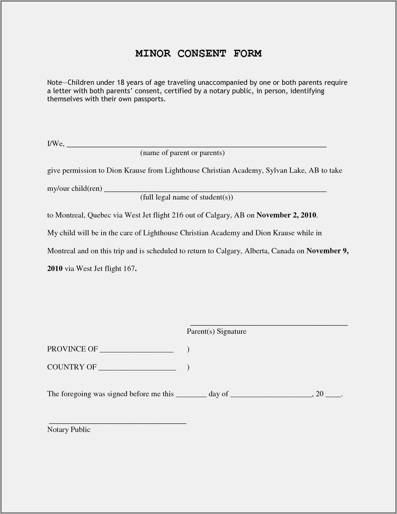 Notarized Letter Permission To Travel With Minor