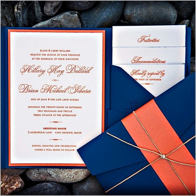 Orange And Silver Wedding Invitations