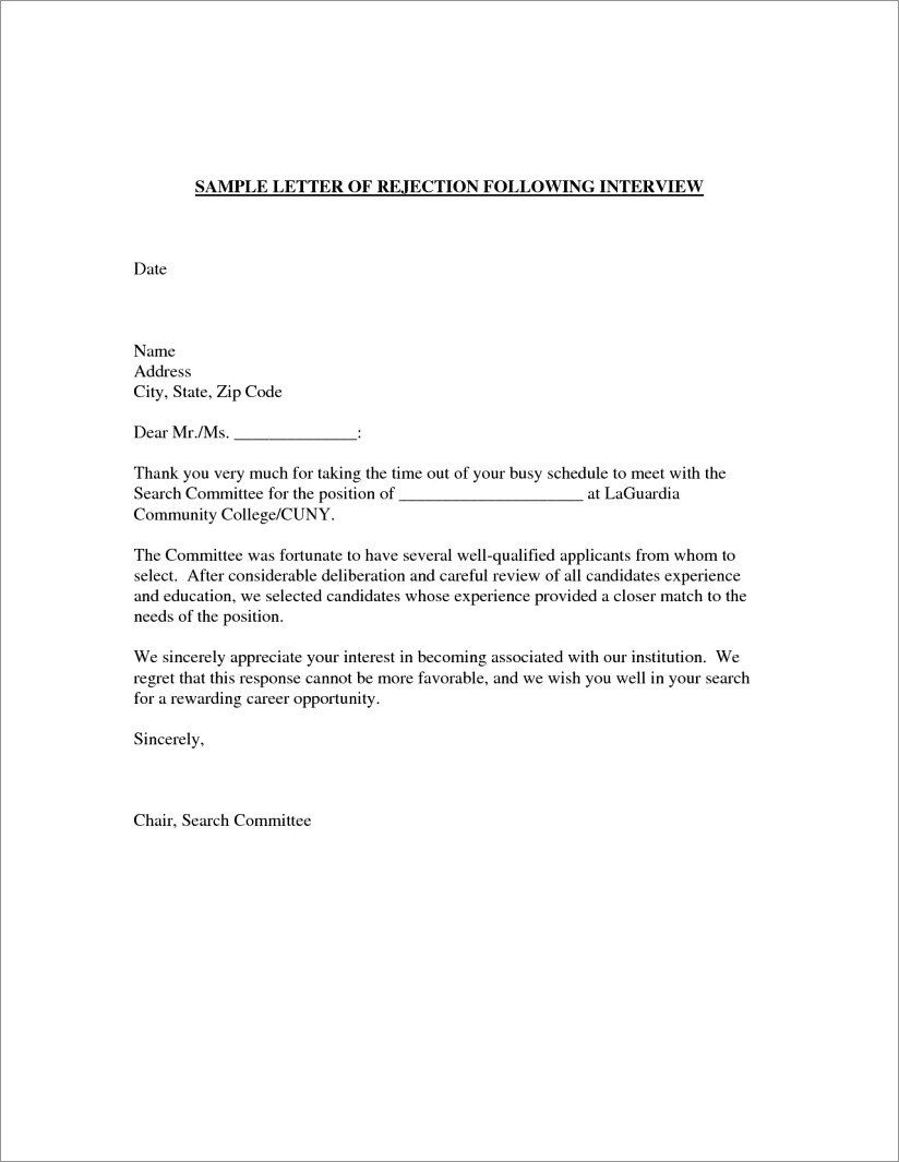Overqualified Candidate Rejection Letter