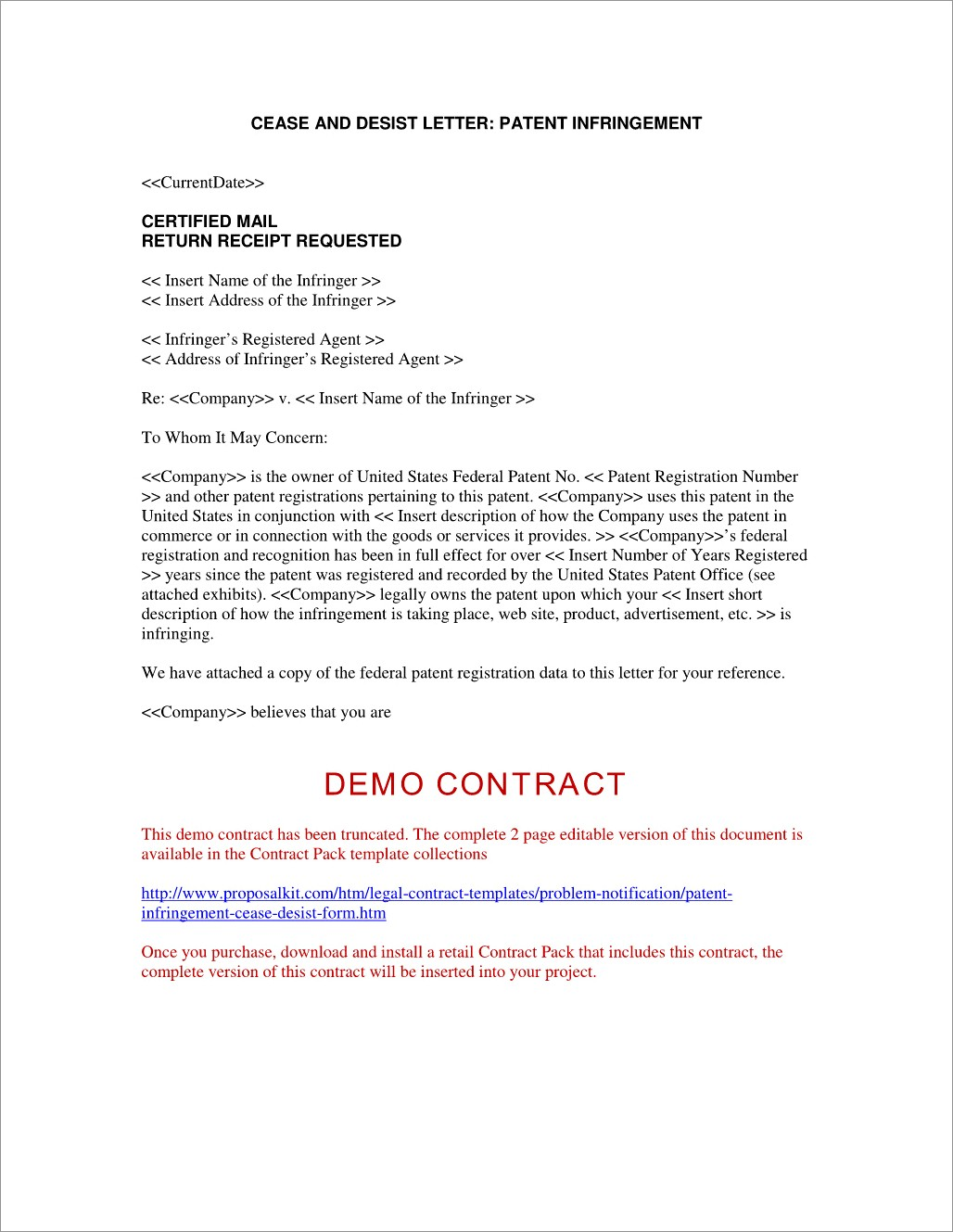 Patent Cease And Desist Letter Template