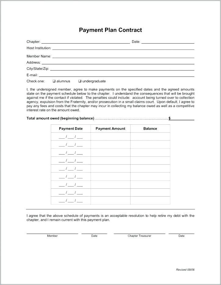 Payment Arrangement Car Payment Agreement Letter