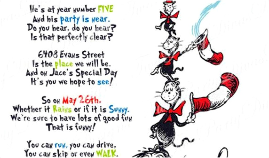 Personalized Cat In The Hat Birthday Invitations