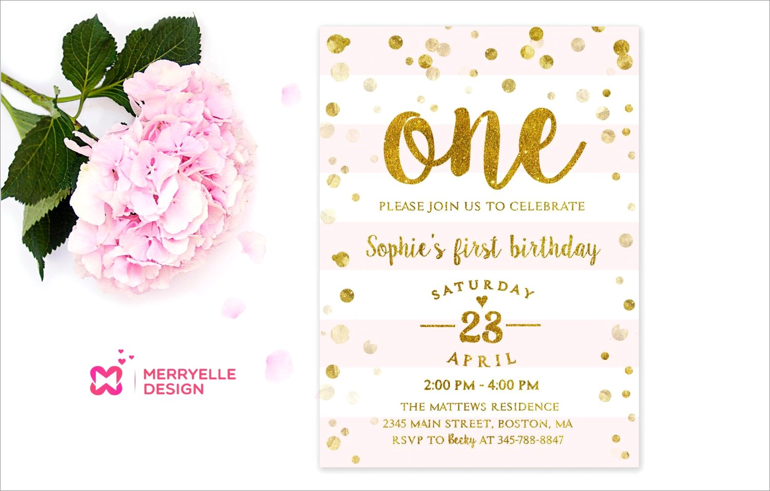 Pink And Gold 1st Birthday Invitation Template