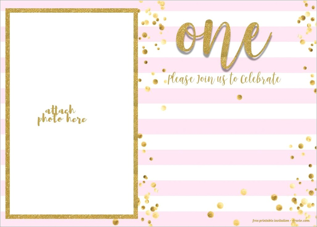 Pink And Gold 1st Birthday Invitations Free
