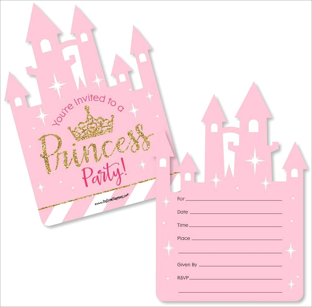 Pink And Gold Crown Invitations