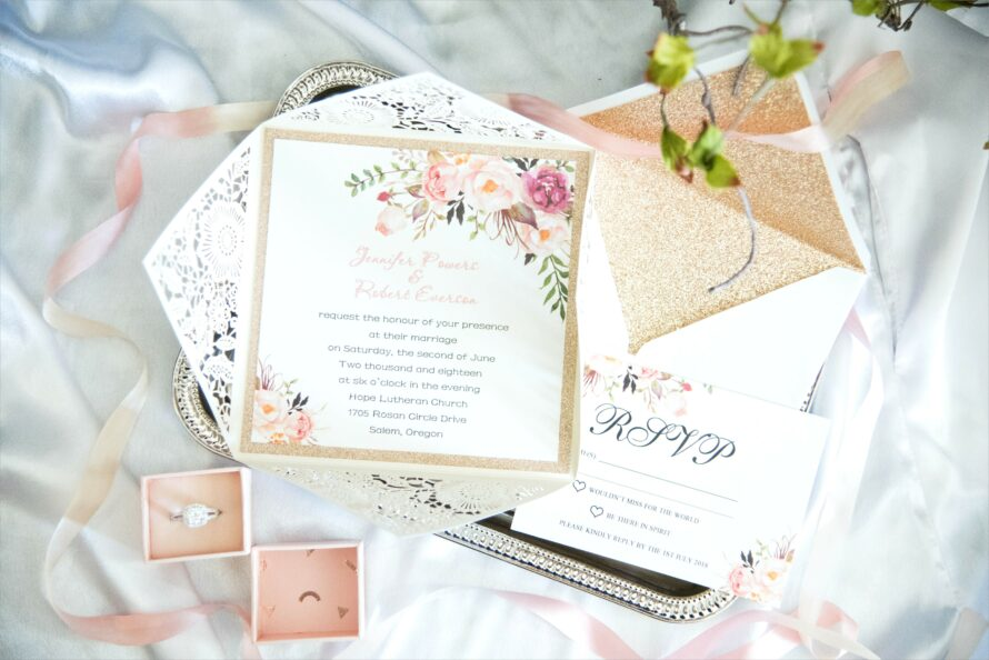 Pink And Gold Glitter Wedding Invitations