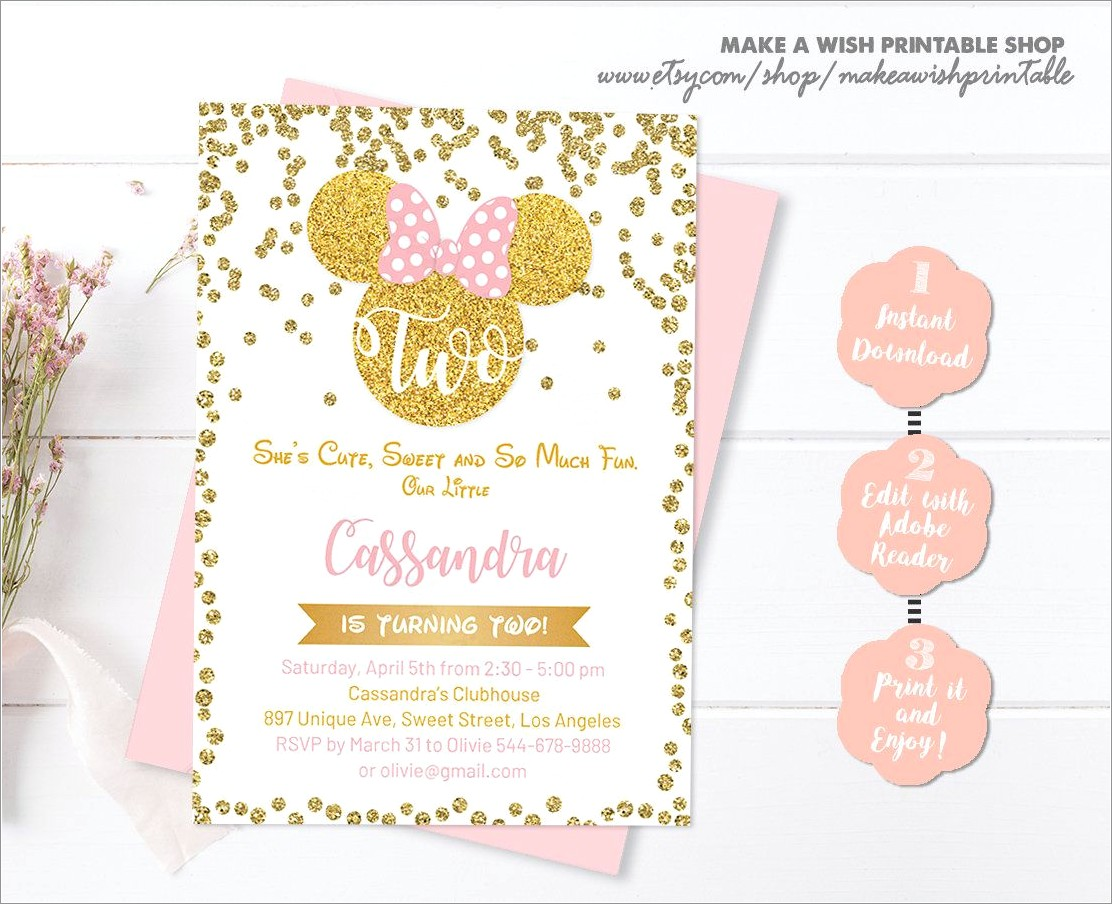 Pink And Gold Minnie Mouse Birthday Invitations