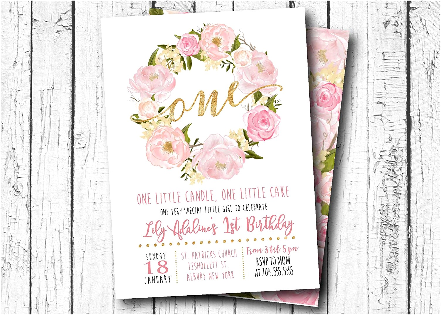 Pink White And Gold 1st Birthday Invitations