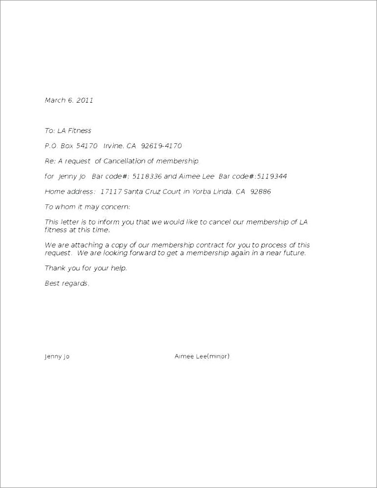 Planet Fitness Cancel Membership Letter Template