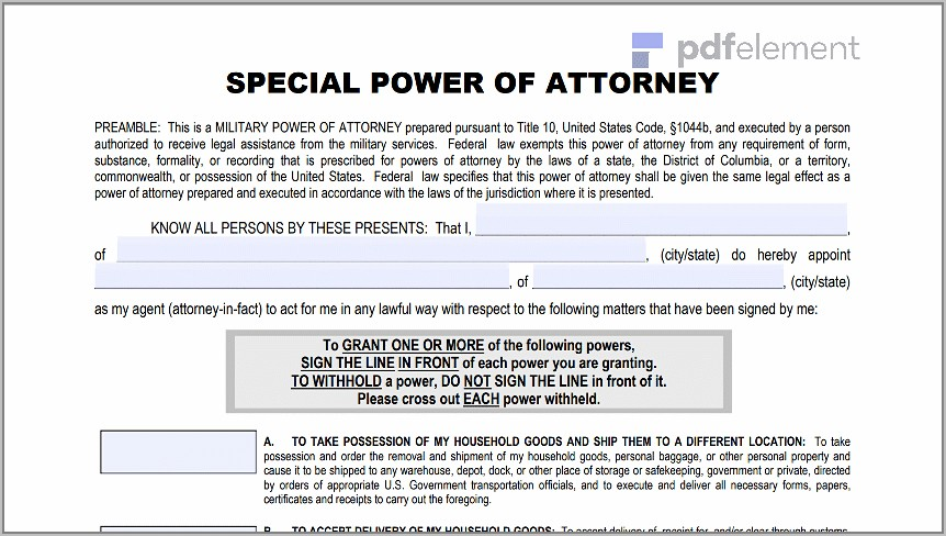 Power Of Attorney Form Download Free (135)