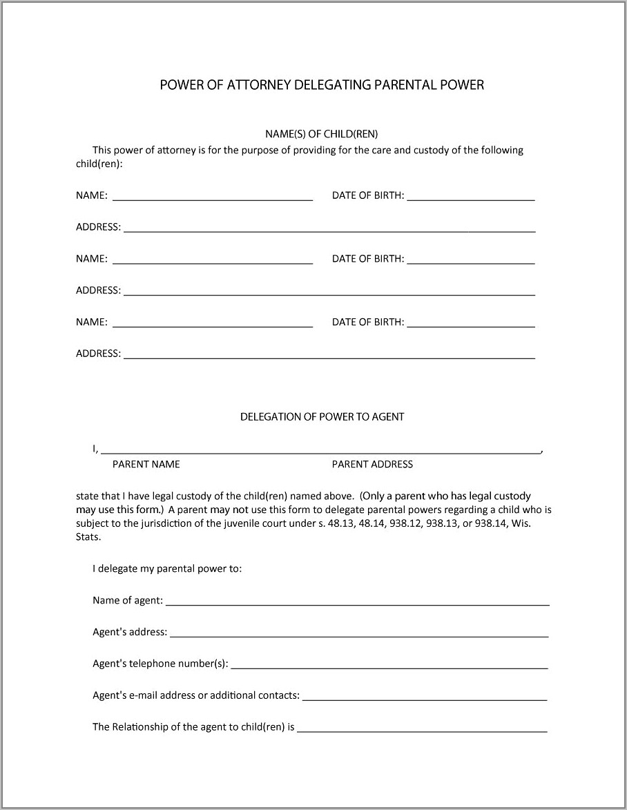 Power Of Attorney Form Example