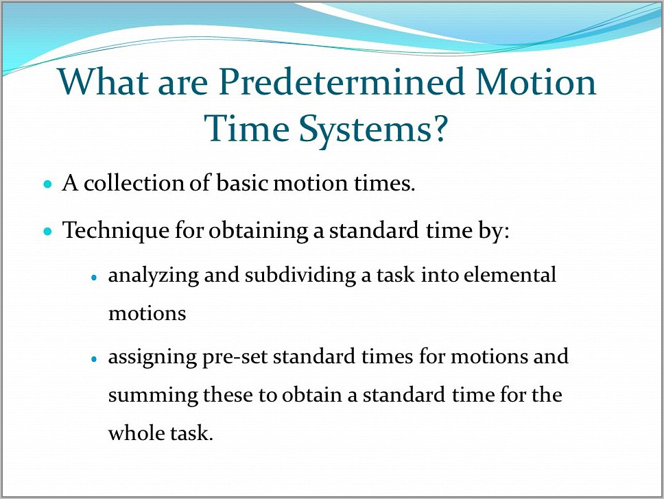 Predetermined Motion Time Study Example