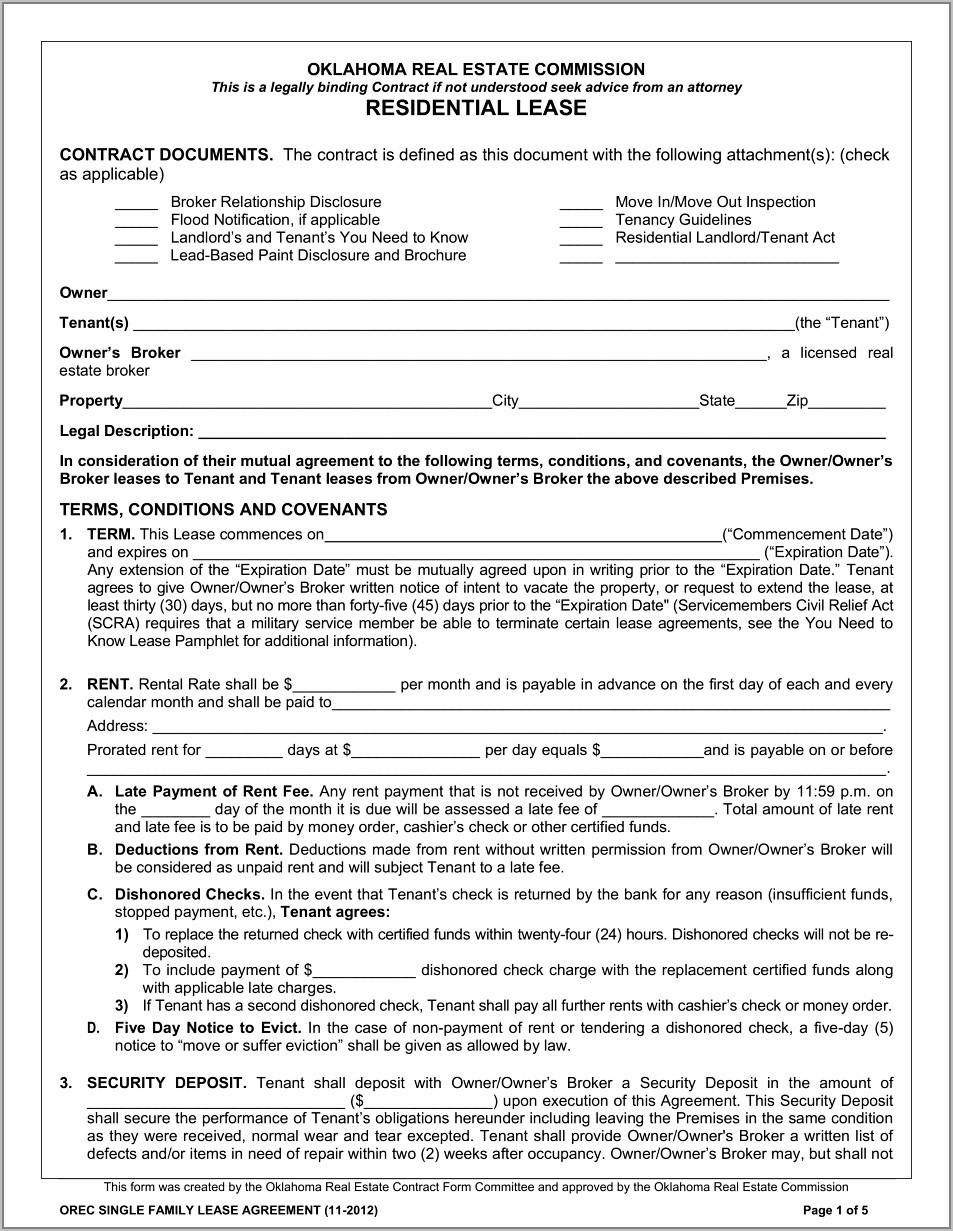 Printable Lease Agreement South Africa