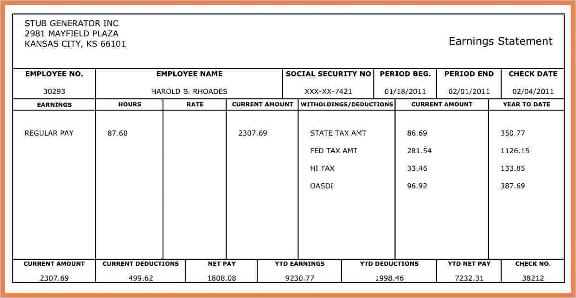 Printable Pay Stub Template Free Canada
