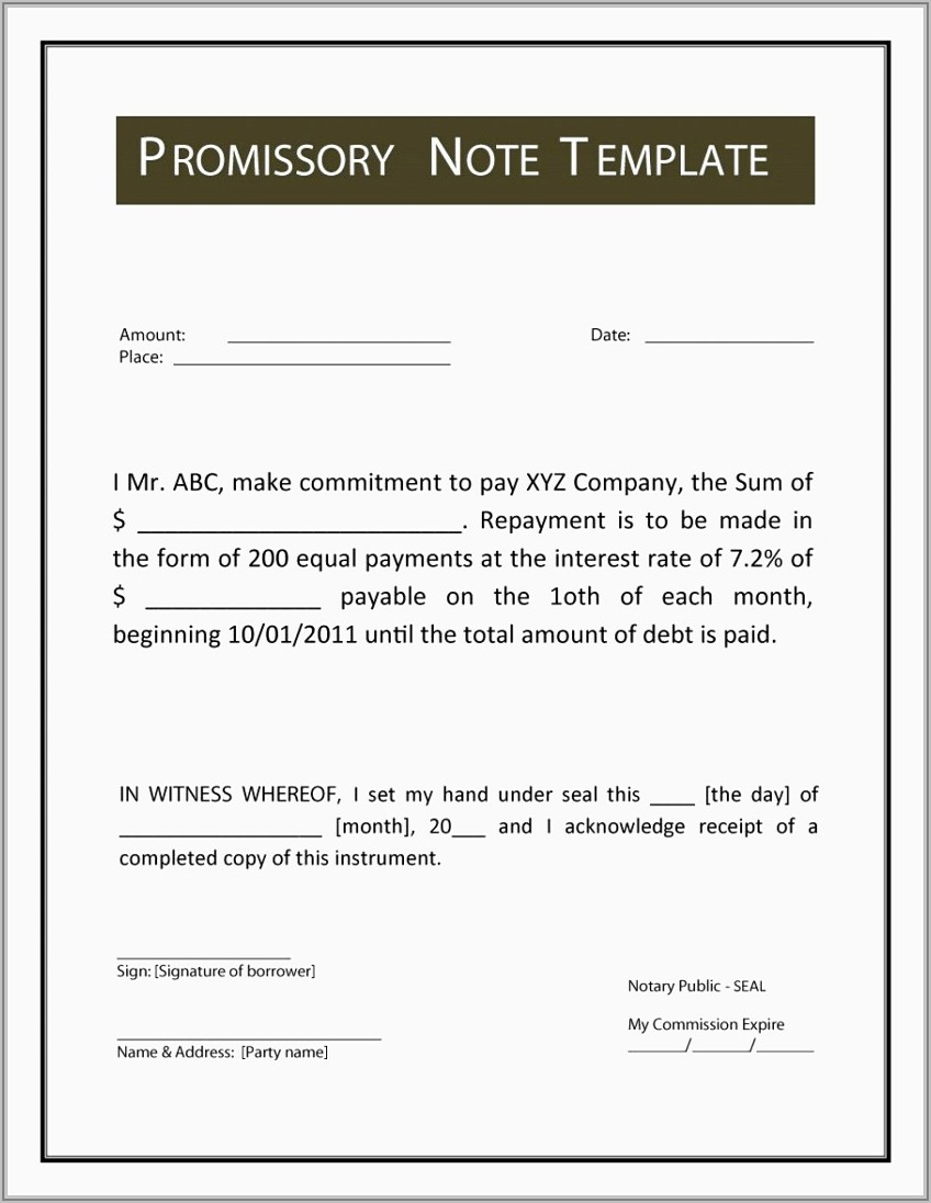 Promissory Note Template Payment Plan