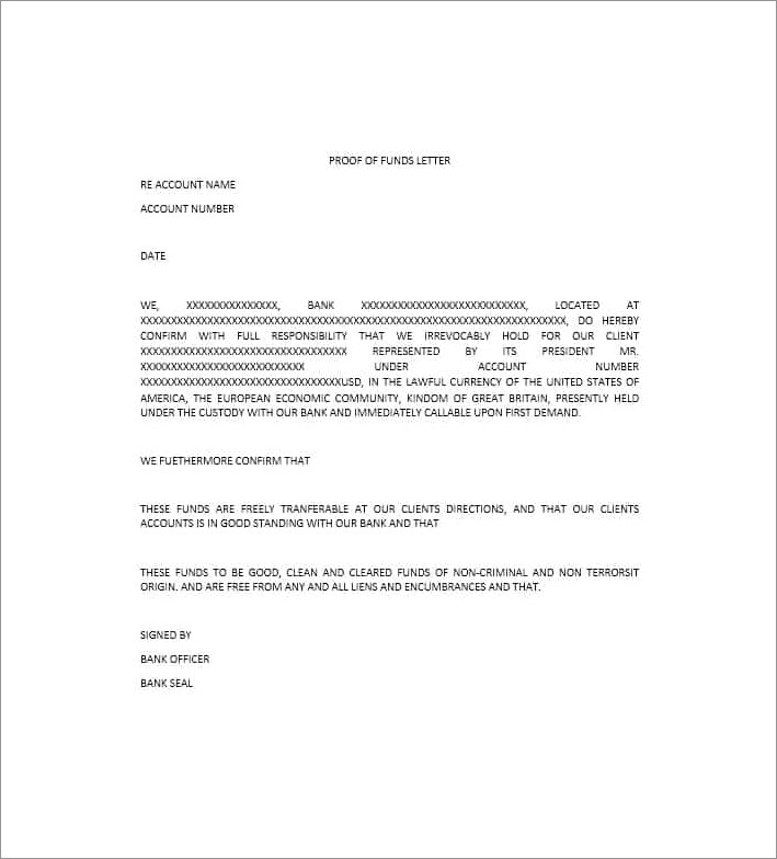 Proof Of Funds Letter Template Pdf