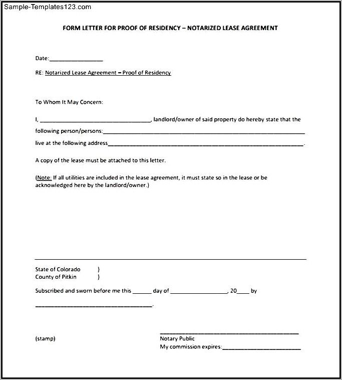 Proof Of Residency Letter Notarized Template