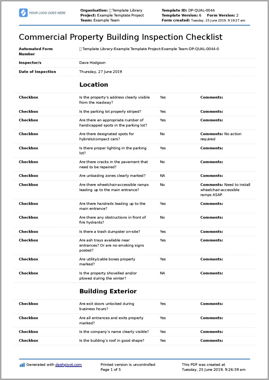 Property Inspection Checklist Form