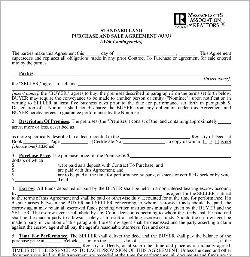 Property Sales Agreement Template South Africa