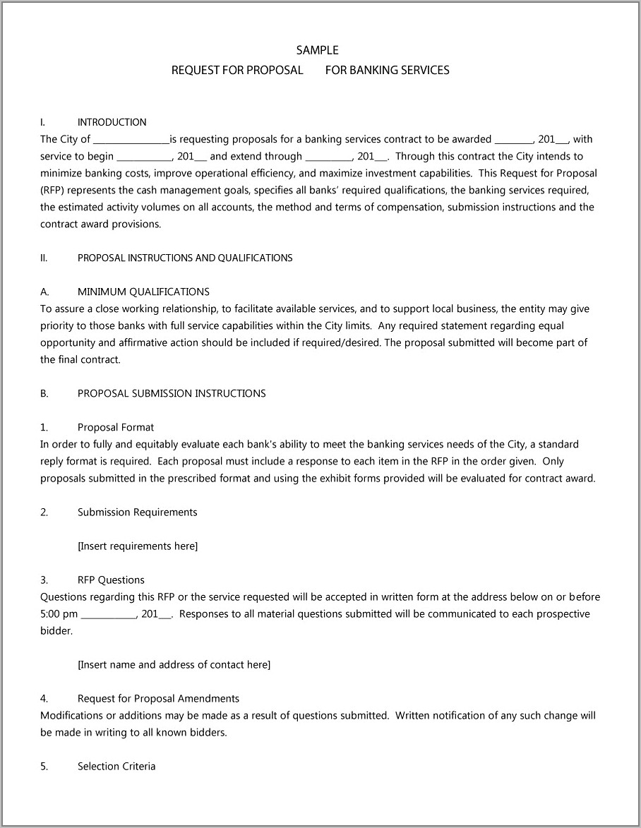 Proposal Template For Rfp Response