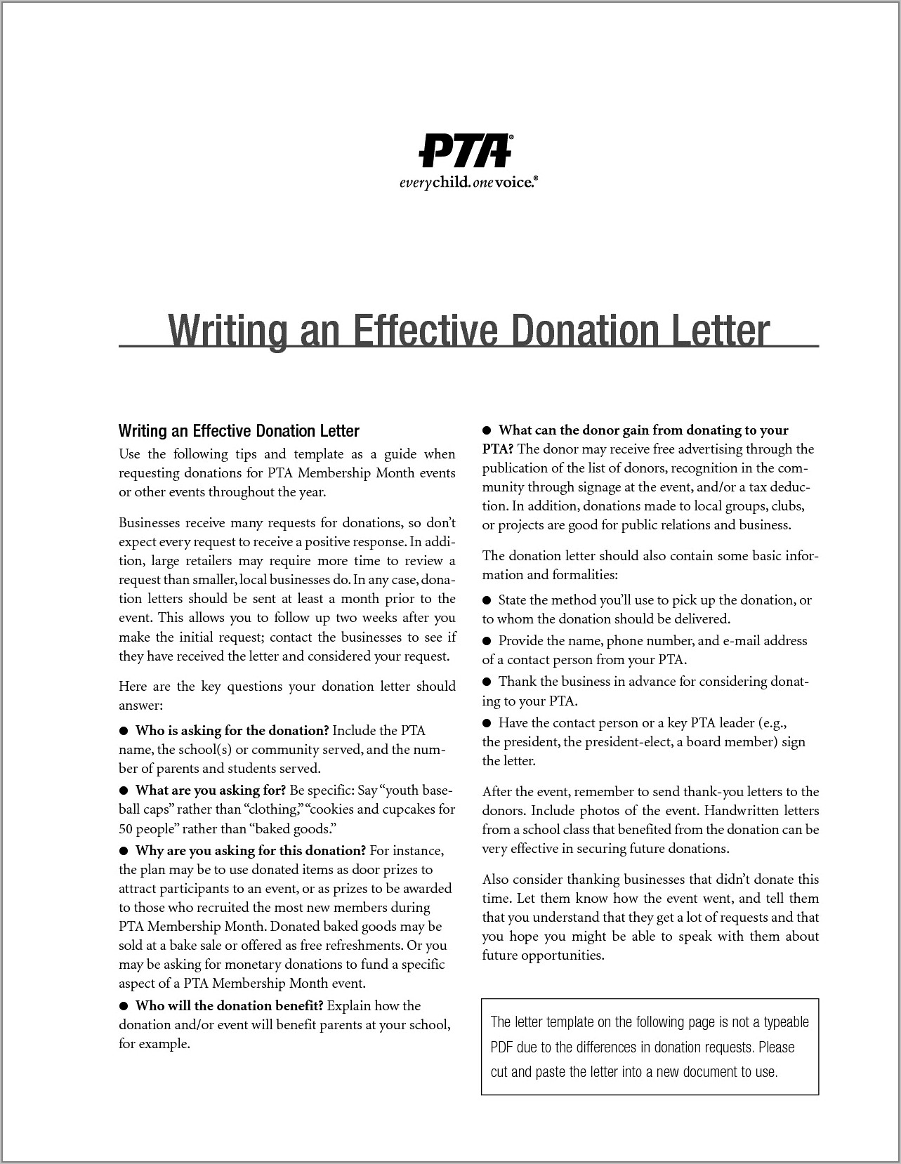 Pta Request For Donation Letter Sample