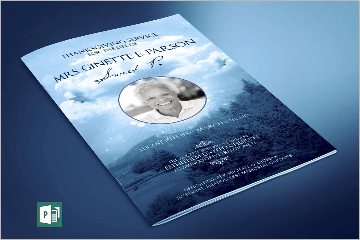 Publisher Template For Funeral Program