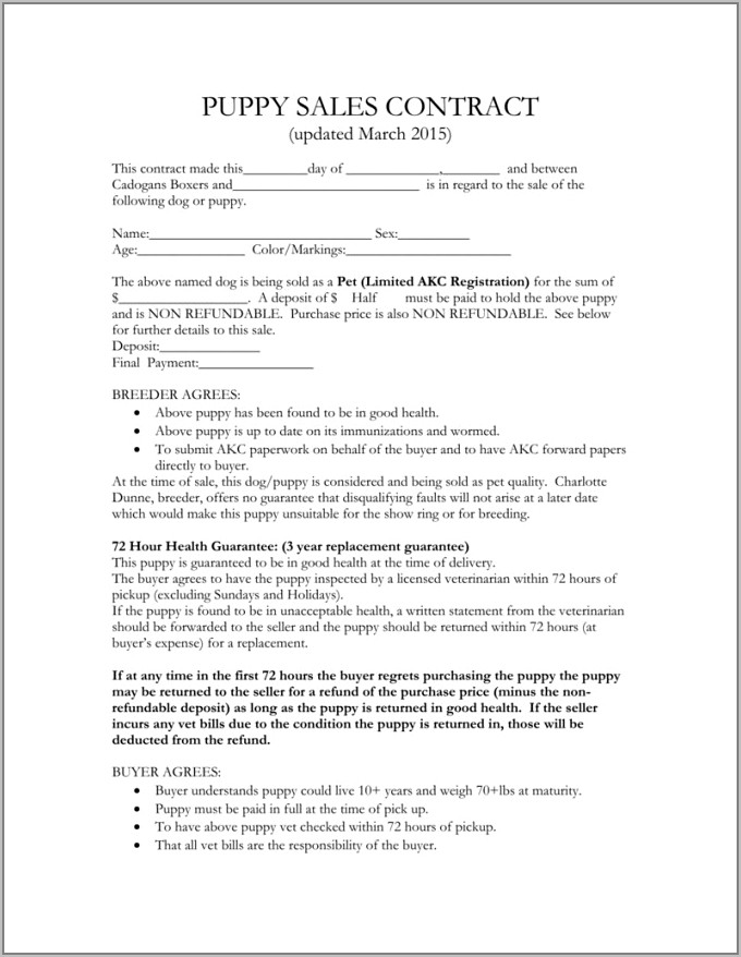 Puppy Sales Agreement Contract