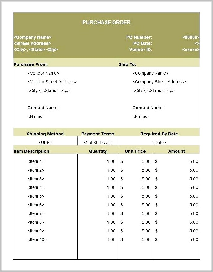 Purchase Order Template Word Mac